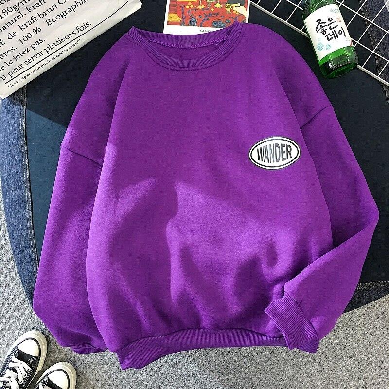 Harajuku Ulzzang Sweatshirt Fashion Purple Letter Pattern Pullovers Women Hoodies Casual Coat Autumn Winter Hoodie Sportswear