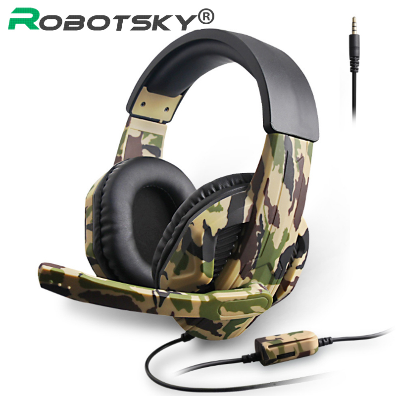 3.5mm Gaming Headsets Camouflage HD Stereo No Noise Head-mounted Professional Gamer Headphones For PS4 PS3 Xbox Switch Computer