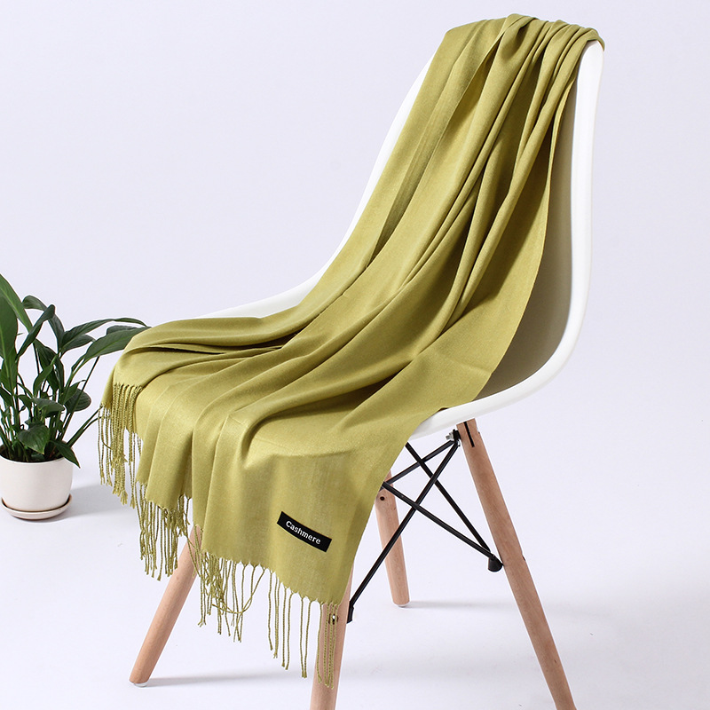 Однотонный кашемировый шарф для женщин новые длинные мягкие шали и палантины пашмины модные хиджаб с кисточками женские шейные шарфы - Цвет: 110g huanglv