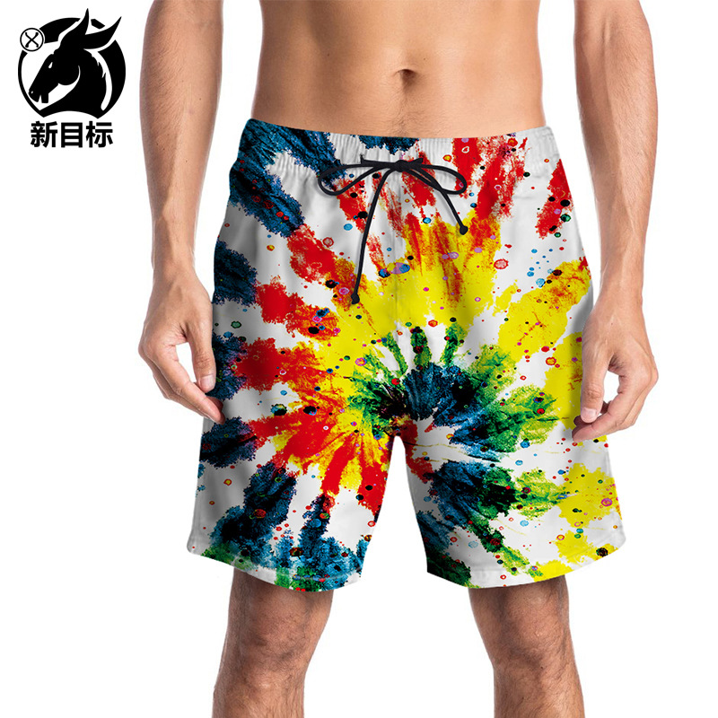 2019 Summer Foreign Trade Pants Fun Graffiti 3D Printed Quick-Dry Beach Shorts Plus-sized Short Casual Swimming Trunks Men's