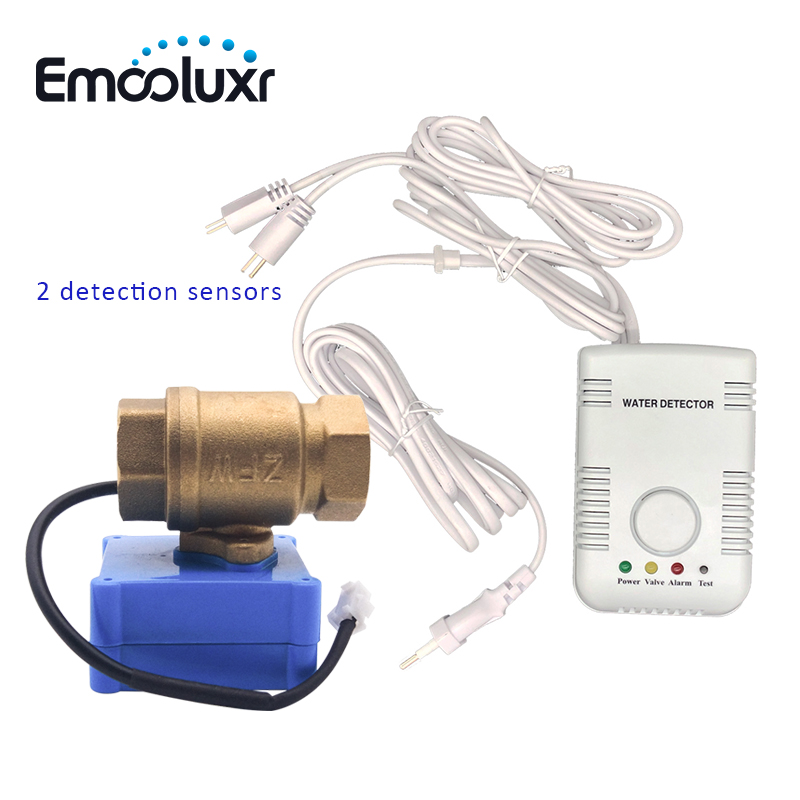New Water Leakage Sensor Alarm With DN15 Brass Valve And 2pcs Long Sensitive Water Detection Probe