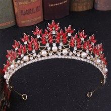 Baroque Rhinestone Crystal Leaf Diadem Women Girls Wedding Tiara Crown Headpiece Bridal Headwear Headdress Hair Accessories цена и фото