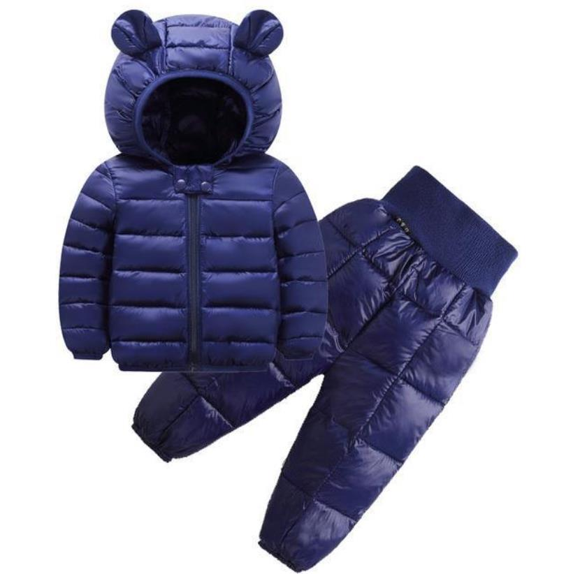 2021 New Children's Clothes Sets Winter Girls and Boys Hooded Down Jackets Coat-Pant Overalls Suit for Warm Kids Clothin 2