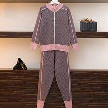 High Quality New Winter Woman Tracksuit Geometric stripeTurtleneck Zipper Knitte
