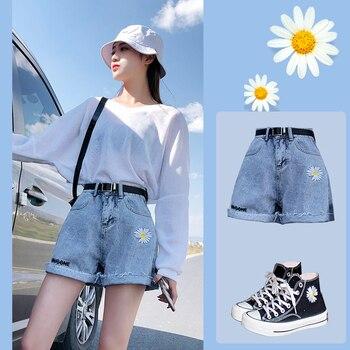 2020 Summer High Waist Denim Shorts Women Casual Loose Ladies Fashion Roll Up Hem Elastic Waist Pocket Blue White Jeans Female roll up hem denim shorts with belt