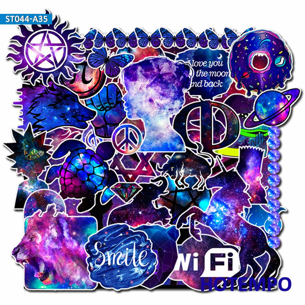 35pcs Galaxy Stars Fantasy Mixed Style Stickers For Mobile Phone Laptop Luggage Guitar Case Skateboard Fixed Gear Bike Stickers