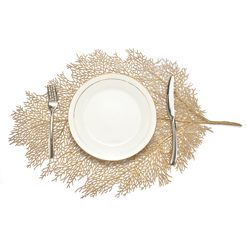Napperon pour table à manger sous-verres feuille de Lotus feuille de palmier Simulation plante PVC tasse Table basse tapis cuisine noël décor à la maison