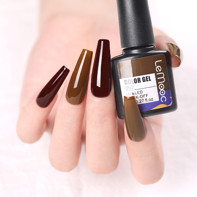 LEMOOC Nail Gel Polish Autumn Winter Color Varnishes Glitter Sequins Soak Off Semi Permanant UV LED Nail Art Hybrid Lacquers 3