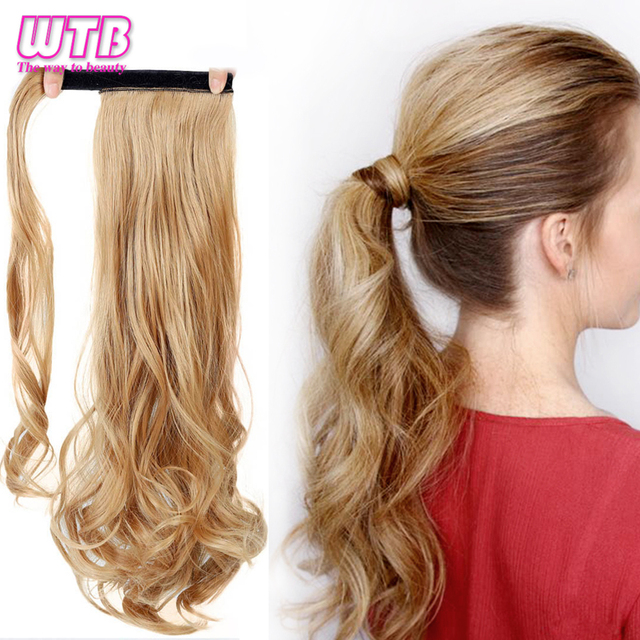 """WTB 22"""" Long Wavy Wrap Around Clip In Ponytail Hair Extension Heat Resistant Synthetic Natural Wave Pony Tail Fake Hair 3"""