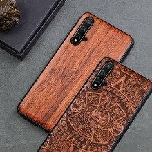 Funda de madera tallada personalizada para Huawei Nova 5 t, funda protectora de TPU de madera para Huawei Nova 5 t Nova5 Pro