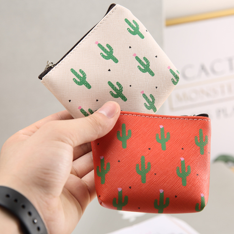 Manufacturers Direct Selling Purse Cartoon Cute Cactus PU Key Bag With Lining Cloth Waterproof Zipper Coin Bag Customizable