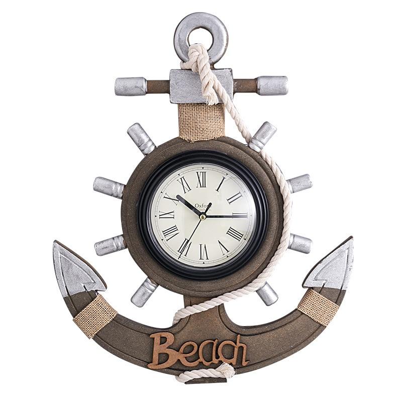 Méditerranéen rétro ancre horloge plage mer thème nautique navire roue gouvernail volant décor tenture murale décoration