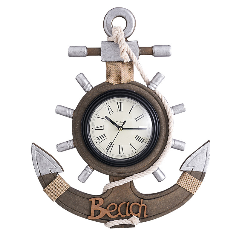 Mediterranean Retro Anchor Clock Beach Sea Theme Nautical Ship Wheel Rudder Steering Wheel Decor Wall Hanging Decoration