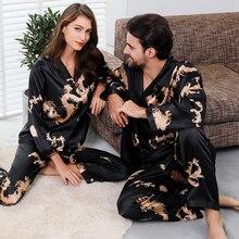 Пара шелк атлас пижамы пижамы комплект длинный рукав одежда для сна пижама пижамы костюм женщины и мужчина сон 2шт комплект домашняя одежда плюс размер