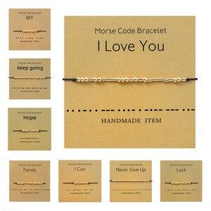 Morse Code Series Open Cuff Bangles Bracelets For Women Men Valentines Friendship Bracelets Gold Color String Adjustable Gift