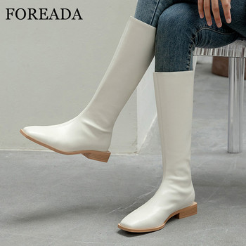FOREADA Real Leather Med Heel Riding Boots Woman Square Toe Knee High Boots Zip Thick Heel Long Boots Ladies Shoes White Size 40 haraval handmade winter woman long boots luxury flock round toe soft heel shoes elegant casual warm retro buckle solid boots 289