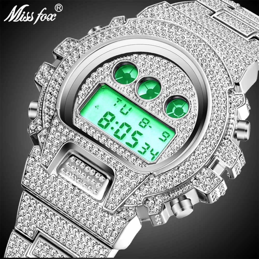 Nuovo Vestito Pieno MISSFOX G Stile Shock Mens Orologi Top Brand di Lusso Digitale Uomini Della Vigilanza Del Diamante Orologio Maschile Xfcs Classico Hip Hop iced Out Orologio