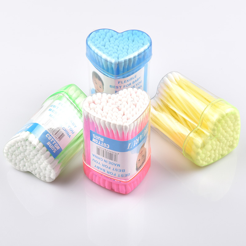 Double Head Cotton Swab Soft Cotton Buds Cleaning Of Ears Tampons Microbrush  Health Beauty 80pcs/Box  Heart Shape Storage Box
