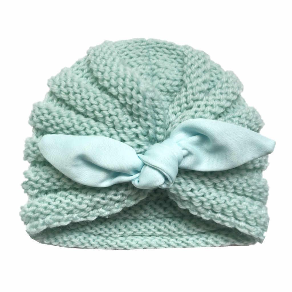 Musim Dingin Anak Topi Anak-anak Balita Bayi Anak Laki-laki Gadis Rajutan Rajutan Topi Kupluk Musim Dingin Hangat Kepala Hiasan Kepala Cap untuk 0- 2 Tahun Bulat
