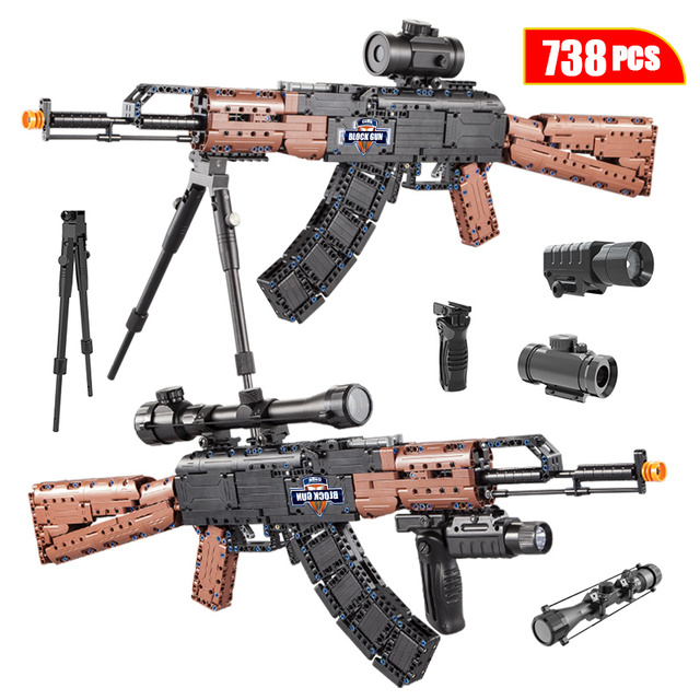City SWAT Military WW2 Weapon AK47 Models Building Blocks Technic Police For Assault Rifle GUN Diy Blocks Toys for Children Boys