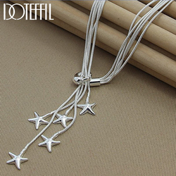 DOTEFFIL 925 Sterling Silver Five Snake Chain Starfish Necklace For Women Wedding Engagement Fashion Jewelry