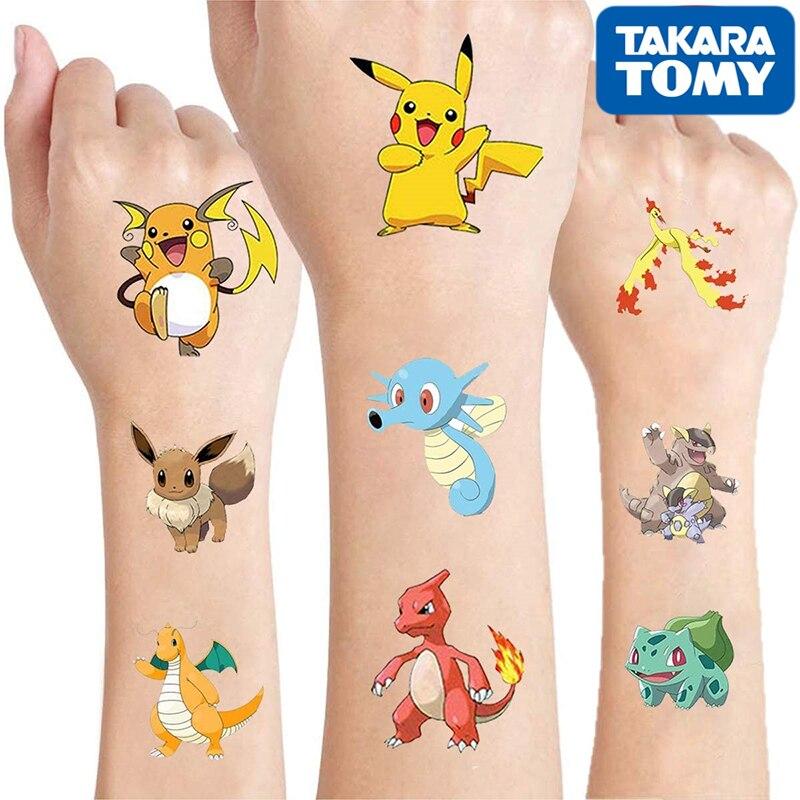 Original Pokemon tatouage enfants autocollants aléatoire 1 ensembles Pikachu figurine dessin animé enfants filles cadeaux d'anniversaire de noël