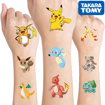 Original Pokemon Tattoo Children Stickers Random 1sets Pikachu Action Figure Cartoon Kids Girls Christmas Birthday Gifts