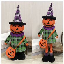 1pc Handmade Doll Telescopic Halloween Ornaments Pumpkin Ghost Cat Witch Party Setting Props Craft Retractable 2018