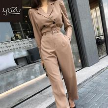 Spring 2 Piece Set Women Office Work Professional Suit Jacket Wide-legged Pants Double Breasted Long Sleeve Elegant Fashion