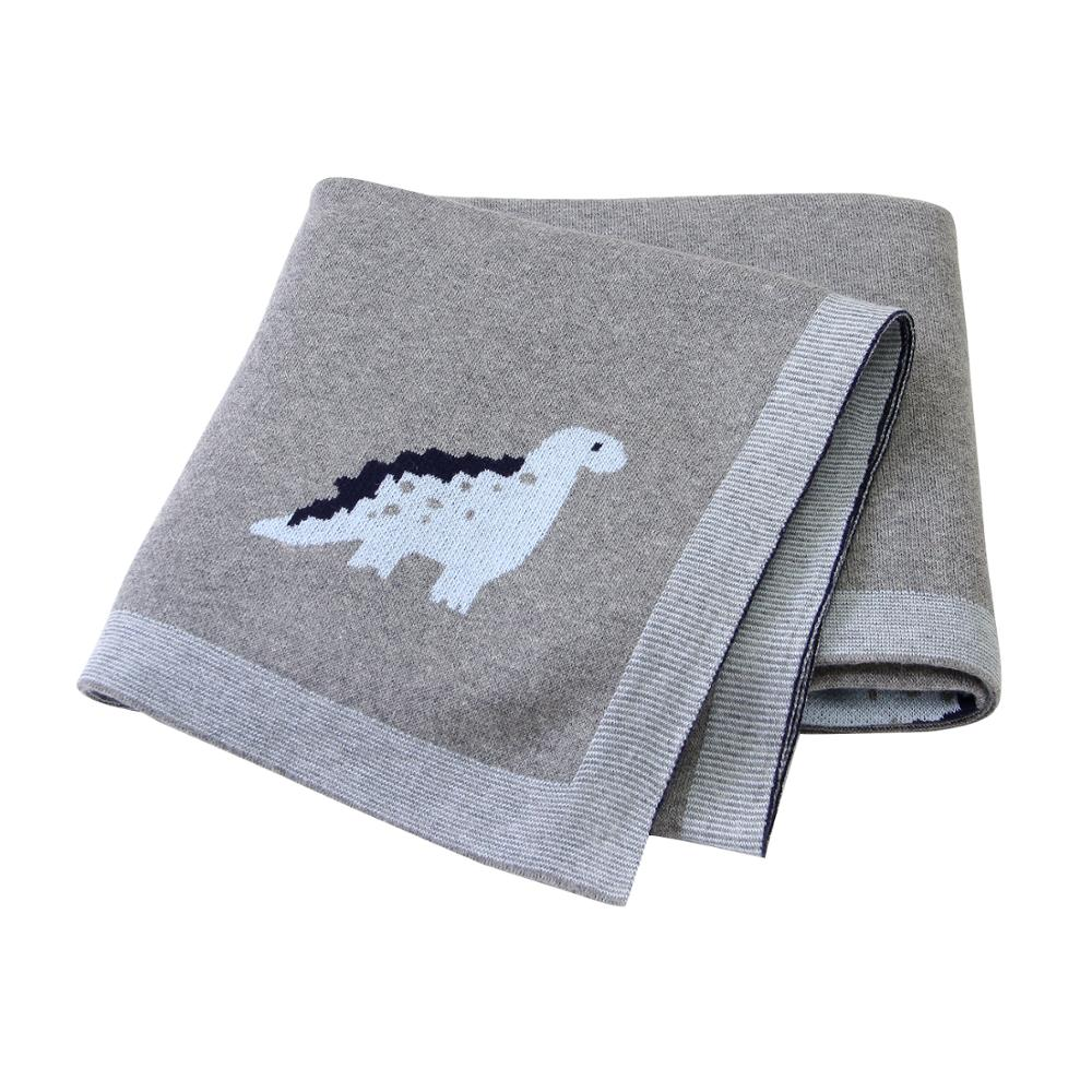 Baby Blankets Knitted Newborn Cotton Stroller Bedding Covers Cartoon Dinosaur Infant Kids Back Seat Sofa Throw Blankets 100*80cm