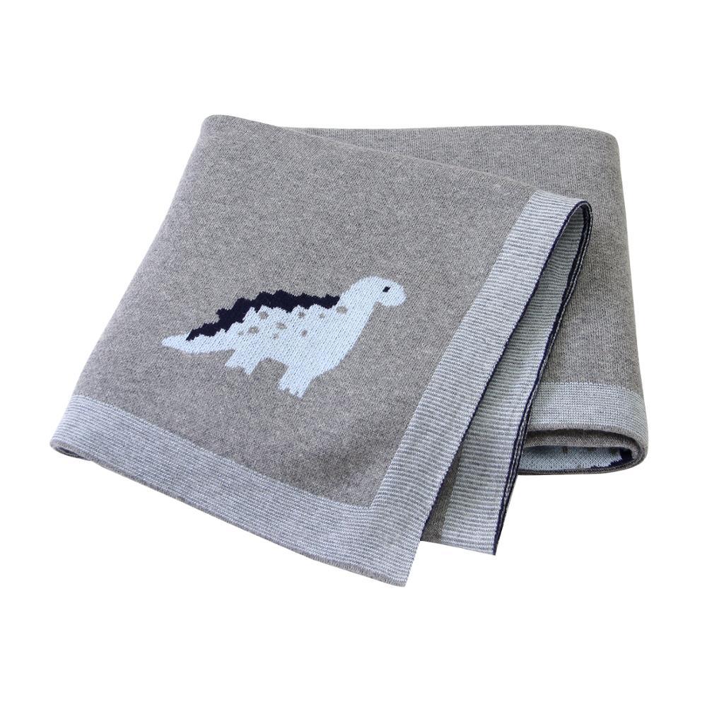 Baby Blankets Knitted Newborn Cotton Stroller Bedding Covers Cartoon Dinosaur Infant Kids Back Seat Sofa Throw Blankets 100*80cm