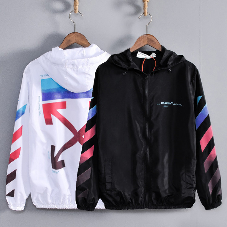 Europe And America Popular Brand Summer Men And Women Couple Clothes Ow Hooded Thin Coat Youth Men And Women Jacket Trench Coat