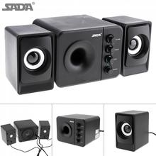 SADA D 205 Portable 3W USB 2.0 Computer Subwoofer Combination Speakers with 3.5mm Audio Plug for Desktop Laptop PC Smartphone