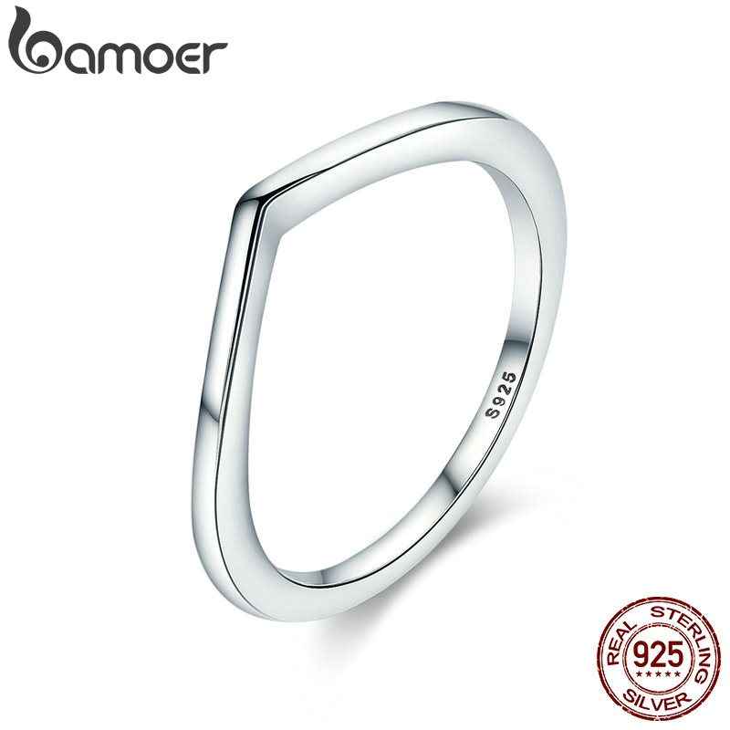 BAMOER 2018 New Authentic 925 Sterling Silver Shining Wish Female Ring Finger Ring For Women Sterling Silver Jewelry Anel PA7647