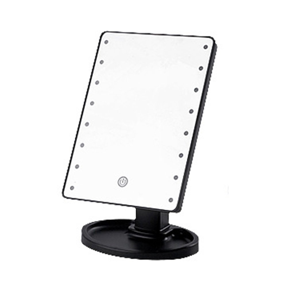 LED Desktop Makeup Mirror 360 Degree Free Rotation Table Countertop Cosmetic Bathroom Mirror With Touch Dimmer Switch