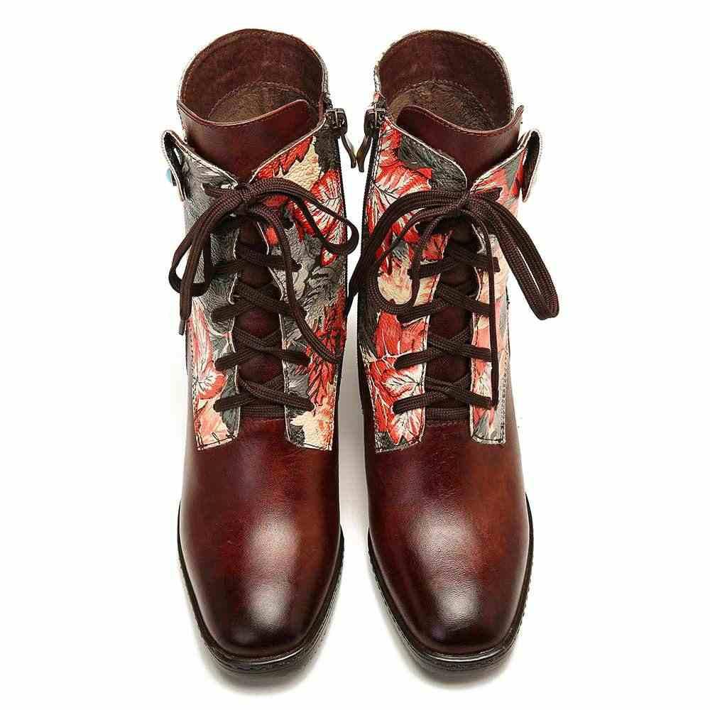 SOCOFY Retro รองเท้าหนังพิมพ์ดอกไม้รูปแบบเย็บซิปรองเท้าส้นสูง Embossed รองเท้าผู้หญิงรองเท้า