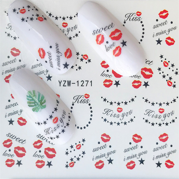 New Style Nail Sticker South Korea Hipster Lips Nail Sticker Water Transfer Yzw Series Adhesive Paper