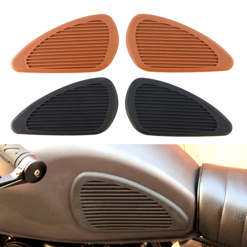 Retro Motorbike Tank Traction Pad Anti Slip Moto Parts For Harley Softail Sportster Cafe Racer Motorcycle Tank Sticker Protector