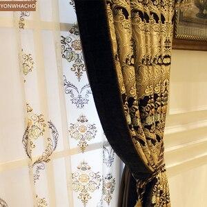 Image 2 - Özel perdeler lüks avrupa Villa oturma odası kalın şönil jakarlı altın bez karartma perdesi valance tül paneli B536