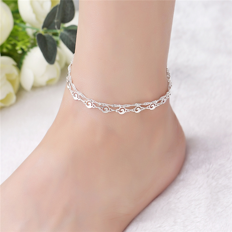 Women's Two Layers Geometric Charm Silver Color Anklet Leg Chain Summer Jewelry Ankle Bracelets Wholesale