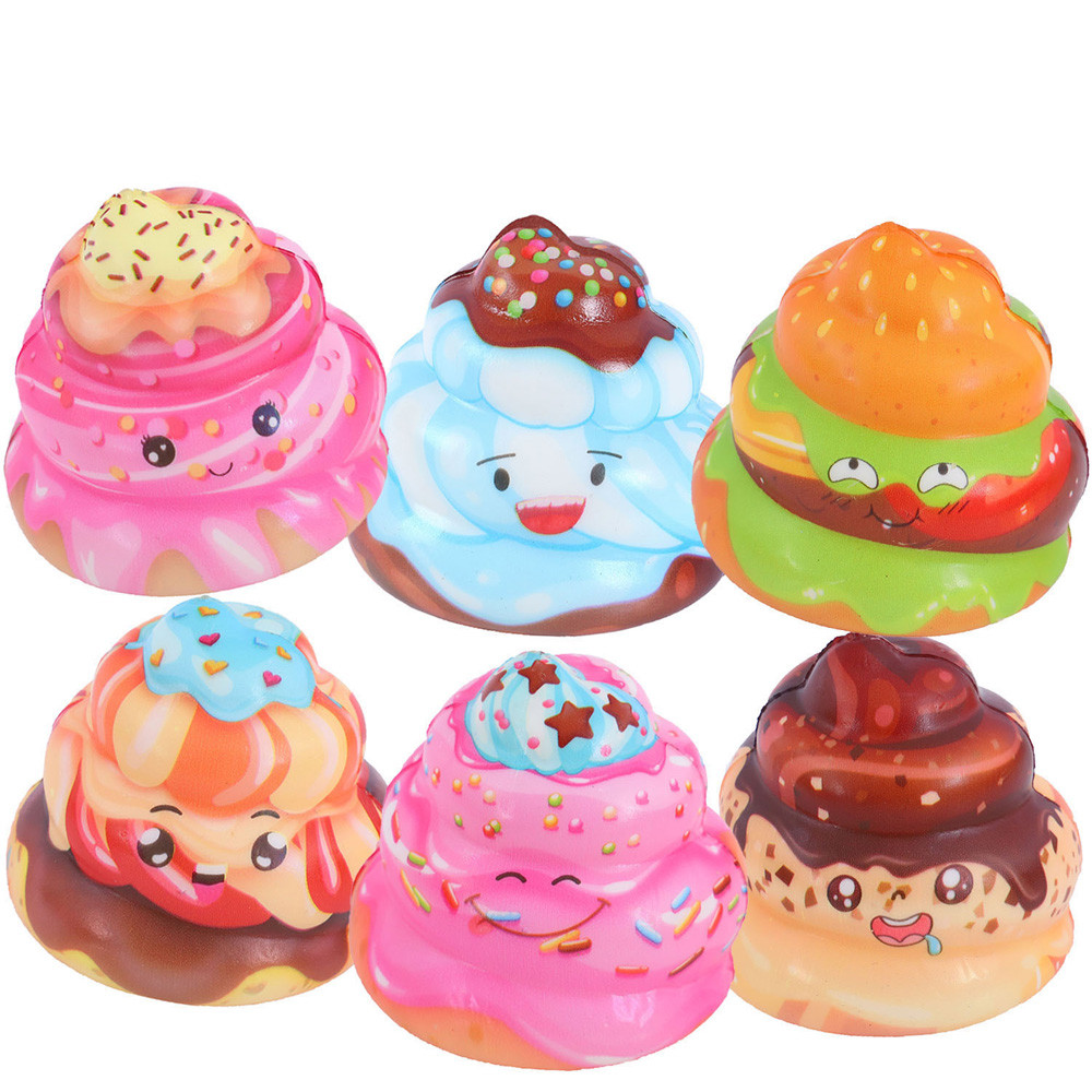 Simulation Pu Slow Rebound Ice Cream Poop 6PCS Exquisite Fun Crazy Poo Scented Charm Slow Rising Stress Reliever Toy L108