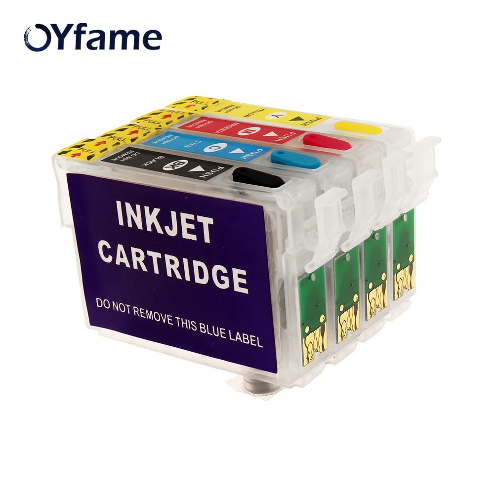OYfame 4PCS Empty For Epson T1281 T1282 T1283 T1284 Refill Ink Cartridge For Epson S22 SX125 SX130 SX235W SX420W SX440W Printer