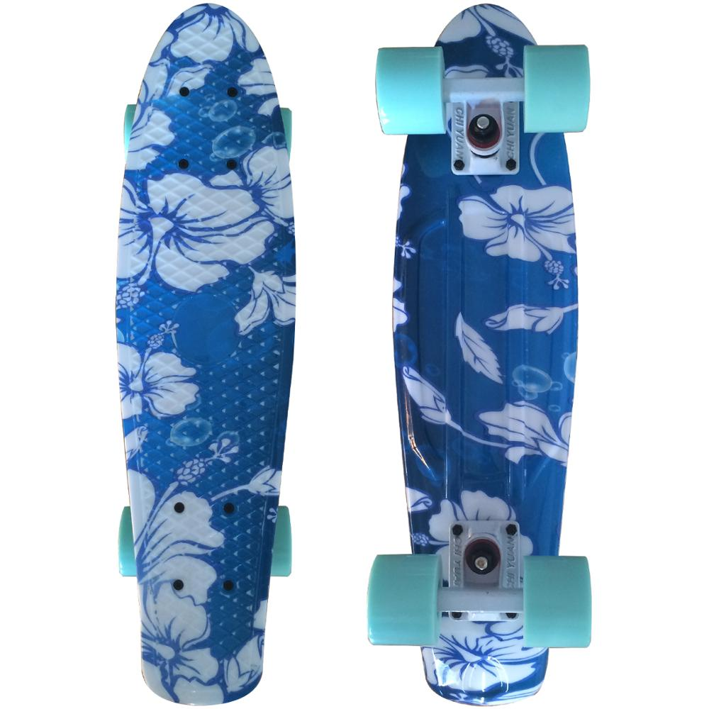 CHI YUAN Mini Cruiser Board Plastic Skateboard Floral Graphic Printed 22