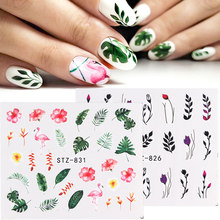 1pcs New Nail Stickers Green Leaf Flamingo Flowers Feather Water Decals Nail Art Decorations Wraps Sliders Manicure TRSTZ824-844(China)