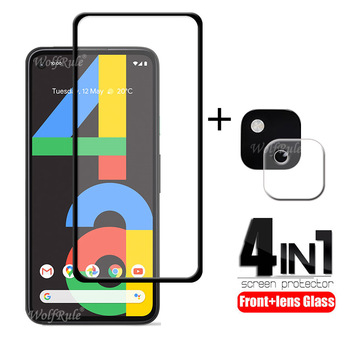 4-in-1 For Google Pixel 4a Glass For Google Pixel 4a Tempered Glass Full Glue HD Screen Protector For Google Pixel 4a Lens Glass 1