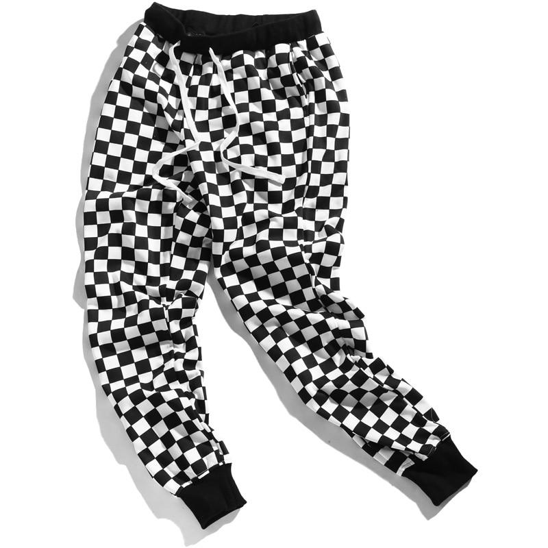 Checkerboard Pants Men Women Hip Hop High Waist Plaid Pant Loose Female Sweatpants Streetwear Harem Pants Autumn Cotton Trousers