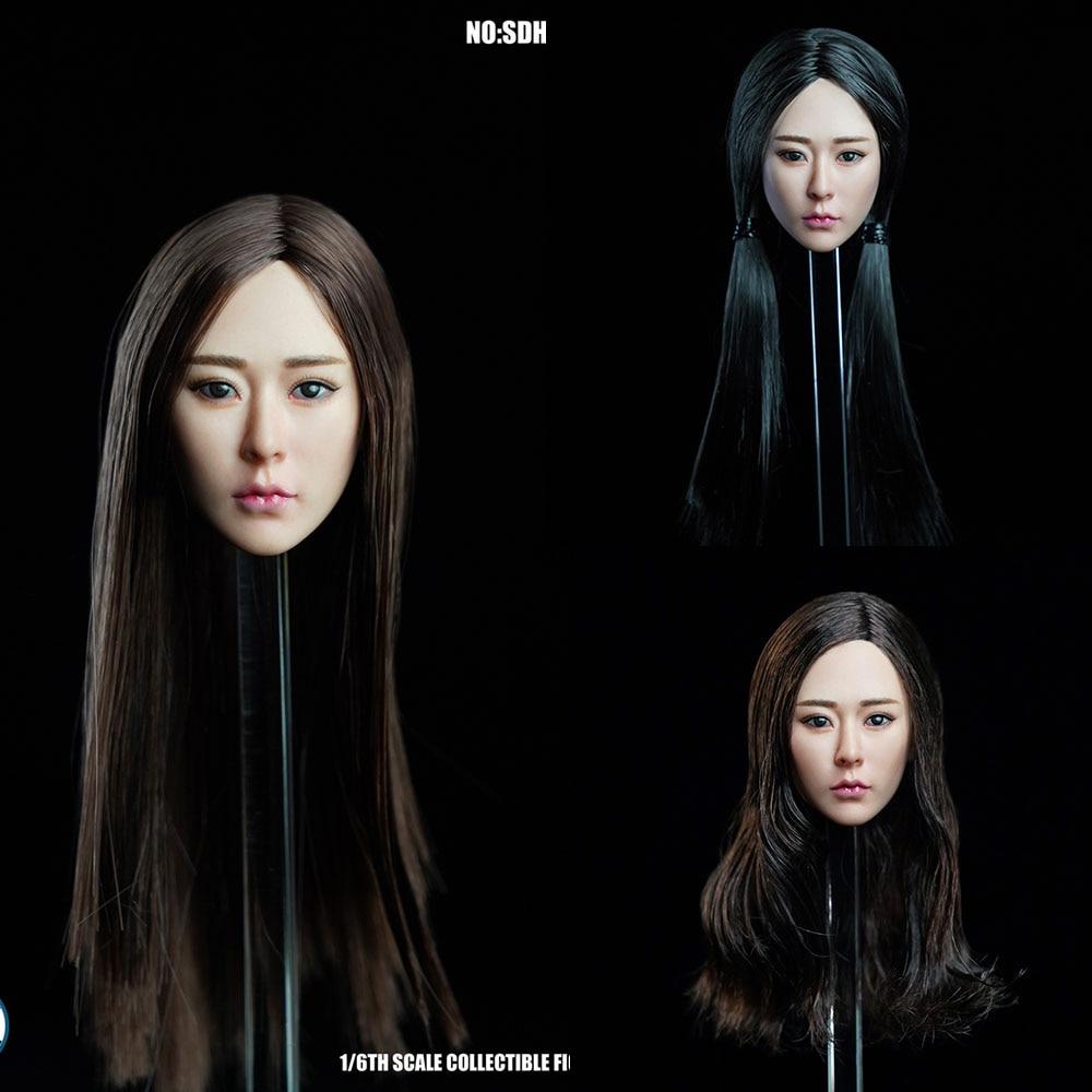 Super Duck 1//6 Asian Female Head Sculpt Black short hair Version 2 SDH010B USA