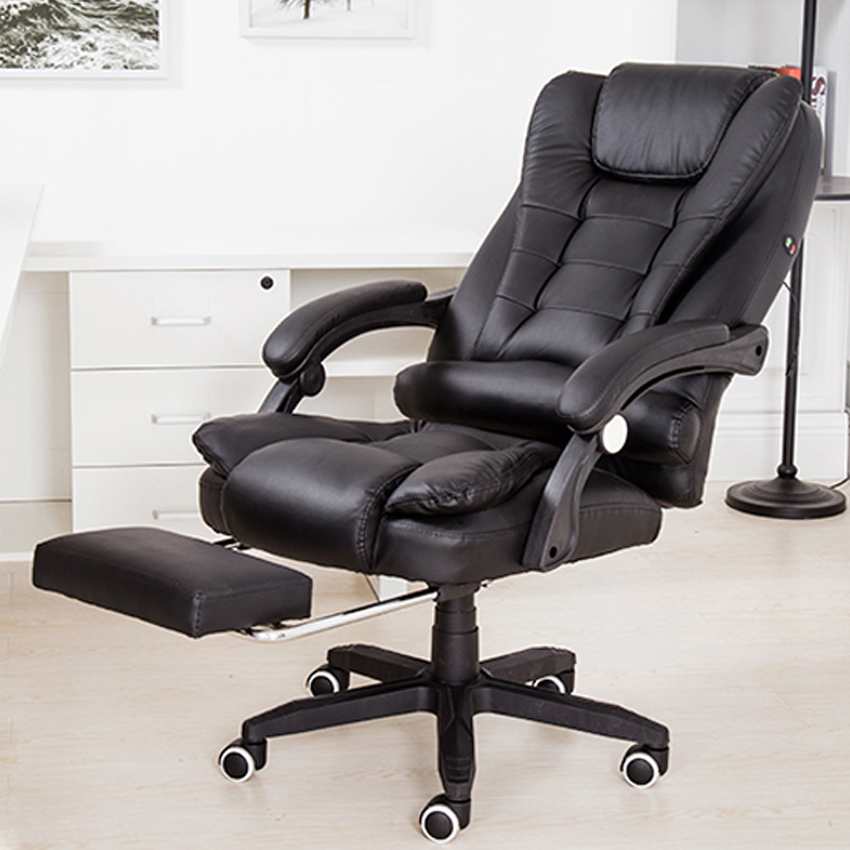 Office Boss Chair PU Leather Massage Chair With Footrest 150° Laying Chair Ergonomic Computer Armchair 360° Rotatable Lift Chair
