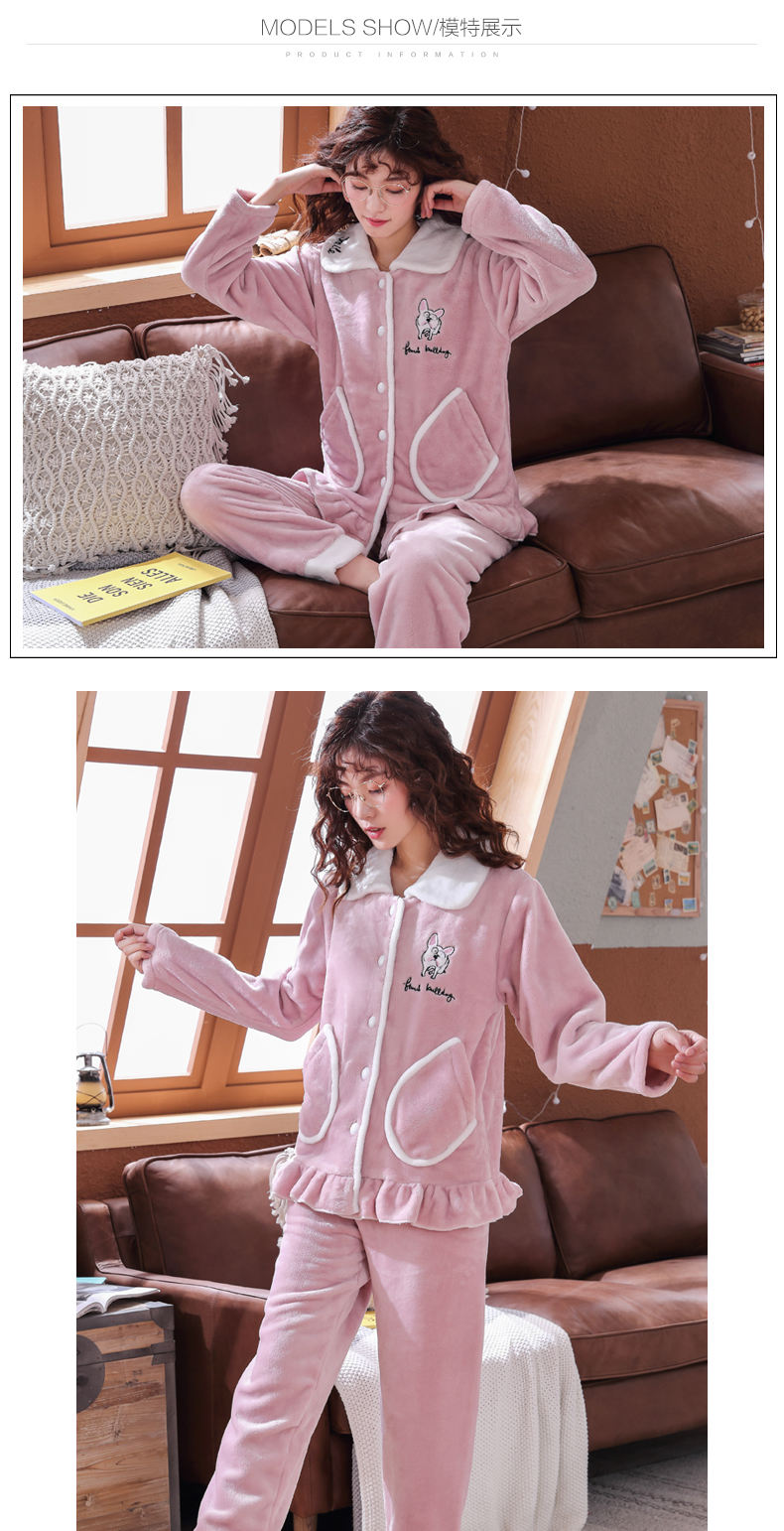 Plus Size 3XL 4XL 5XL Pajamas for women 2019 Winter Thicken Flannel pyjamas Long-sleeve lovely Sleepwear Coral Fleece Nightgowns 156