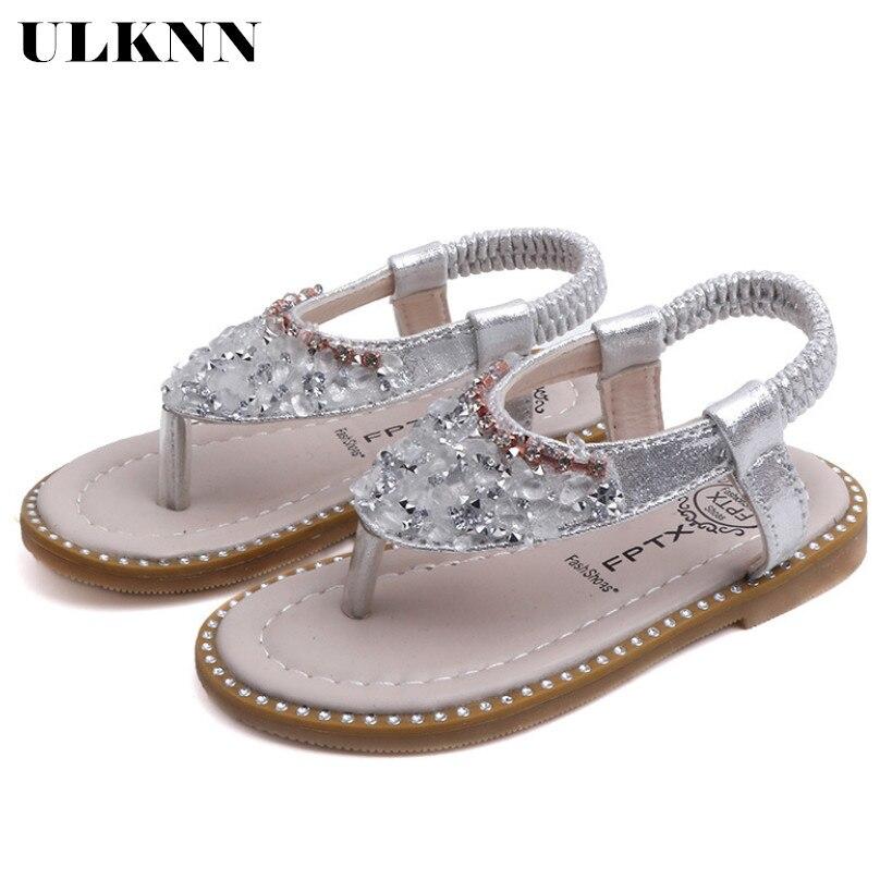 ULKNN Children Summer Sandals Baby Toddler Little Girls Sandals Pink Silver Princess Shoes For Kids Girls Rhinestone Sandals